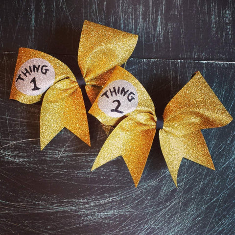 Gold Glitter Thing 1 Thing 2 Cheer Bows