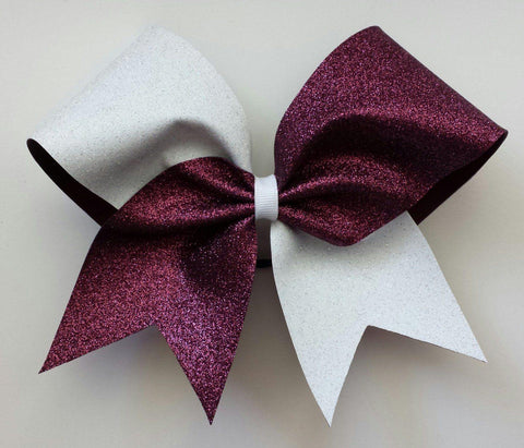 Hazel Cheer Bow in Burgundy and White Glitter