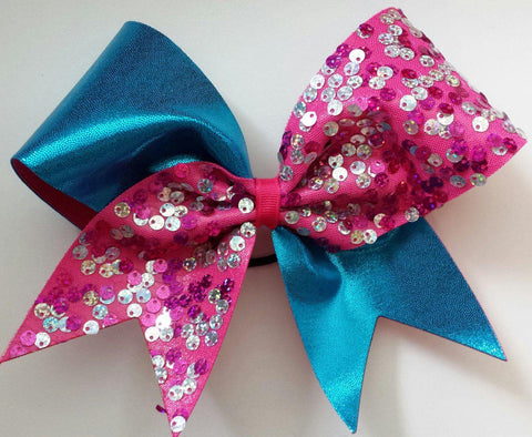 Big Pink Sequin and Turquoise Cheer Bow