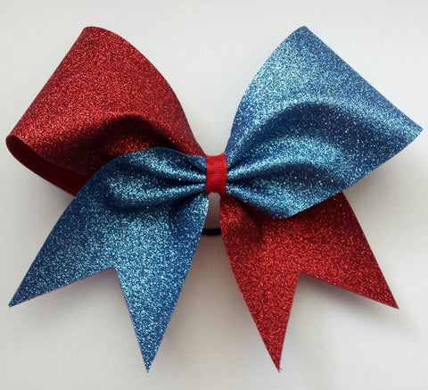 Hazel Cheer Bow in Red and Old Blue Glitter
