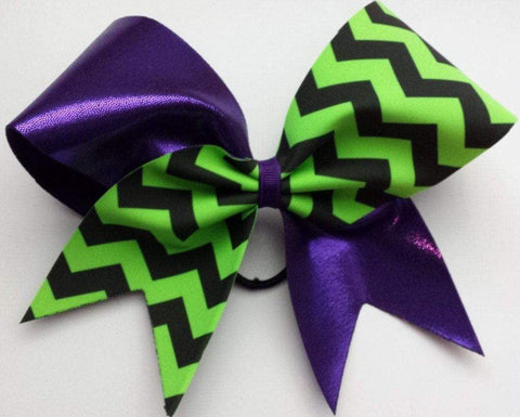 Purple and Green Chevron Cheer Bow
