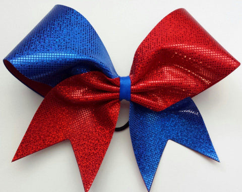 Red and Blue Shattered Glass Cheer Bow