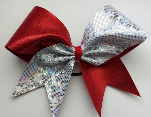 Red and White Cheer Bow