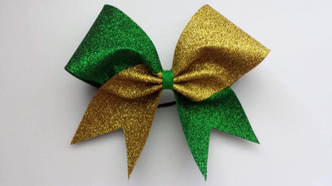 Hazel Cheer Bow in Grass and Gold Glitter