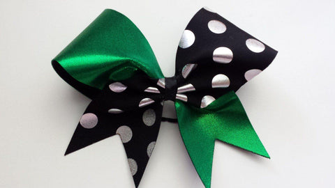 Green and Black Polka Dotted Cheer Bow