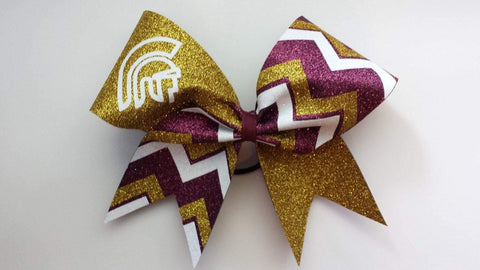 Kailani Cheer Bow in Maroon, White and Gold with a Mascot