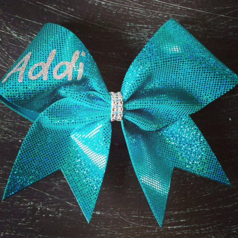 Customize Teal Holographic Cheer Bow