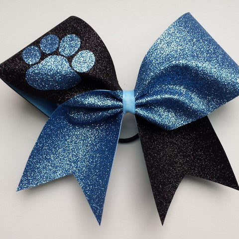 Adelina Cheer Bow in Black and Old Blue Glitter with a Paw