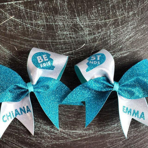 Best Friends Bows Style A in Aqua and Silver