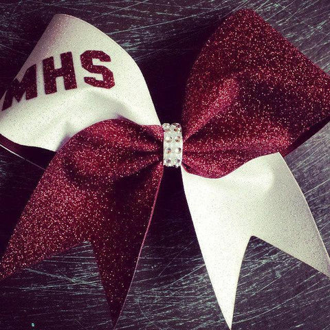 Hanna Cheer Bow in White and Maroon Glitter
