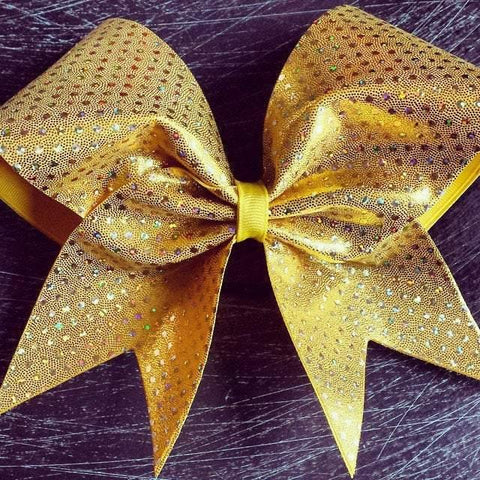 Gold Holographic Dots Cheer Bow