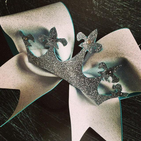 Adora White Glitter Cheer Bow with Silver Crown and Rhinestones