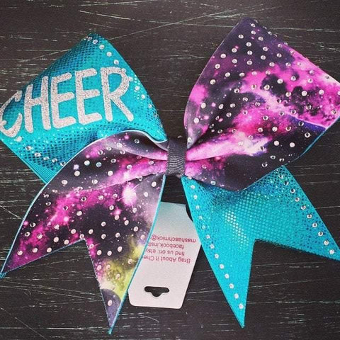 Galaxy and Teal Cheer Bow with Rhinestones