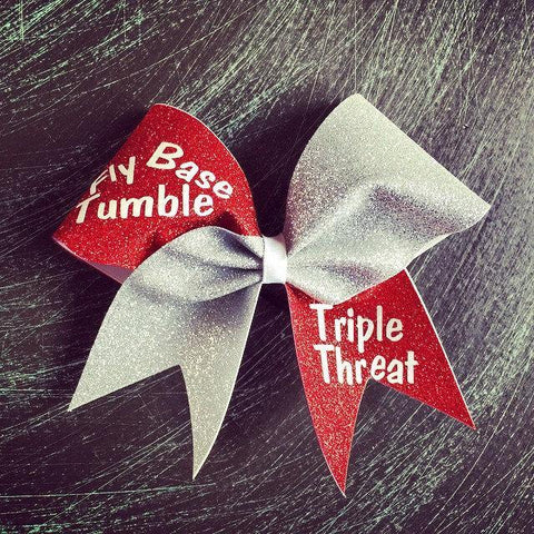 Fly, Base, Tumble. Triple Threat Glitter Cheer Bow