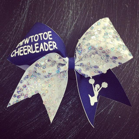 Navy Blue, White and Silver Bow to Toe Cheerleader Cheer Bow