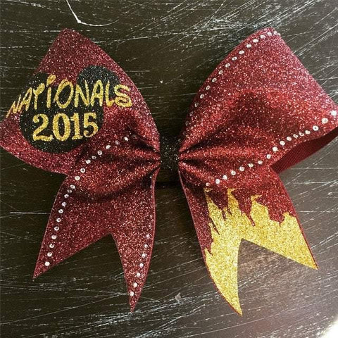 Maroon and Gold Glitter with Rhinestones Bow