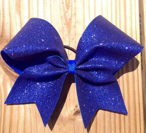 Adel Cheer Bow in Royal Blue Glitter