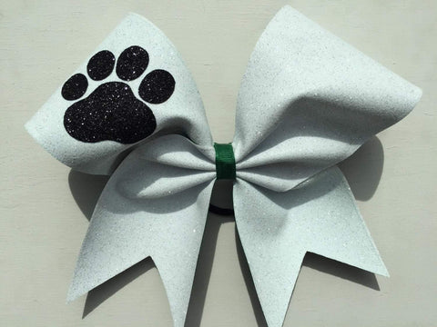 Adelina White Glitter Cheer Bow with Black Paw and Dark Green Ribbon