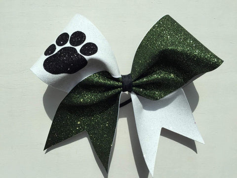 Hanna Cheer Bow in White and Dark Green Glitter with Black Glitter Paw