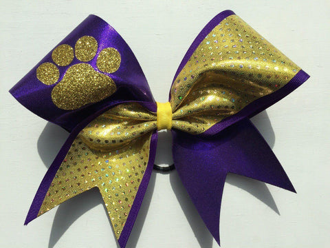 Purple and Gold Holographic Fabric Glitter Paw Cheer Bow