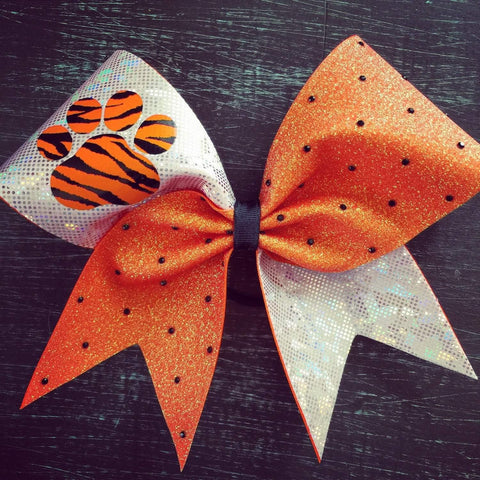 Holo Orange Glitter and White (silver) Fabric W/Paw and Black Rhinestones