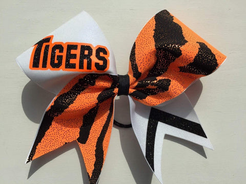 "Orange Black and White ""Tigers"" Cheer Bow"