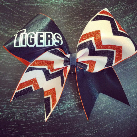 Kailani Cheer Bow in Black, Orange and White with a Team Name