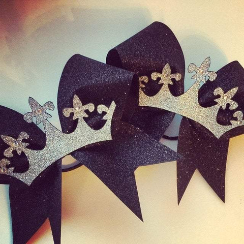 Adora Black Glitter Cheer Bow with Silver Glitter Crown and Rhinestones