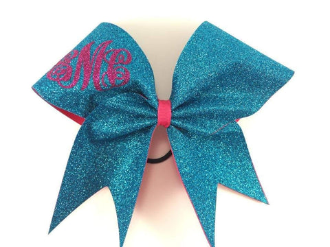 Monogram Glitter Cheer Bow