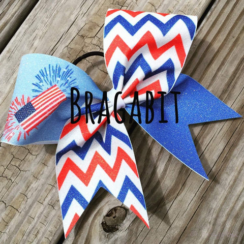 Glitter Red, White and Blue Chevron With American Flag and Fireworks Bow
