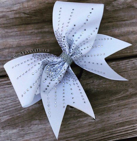 Amelia Rhinestone Cheer Bow in White