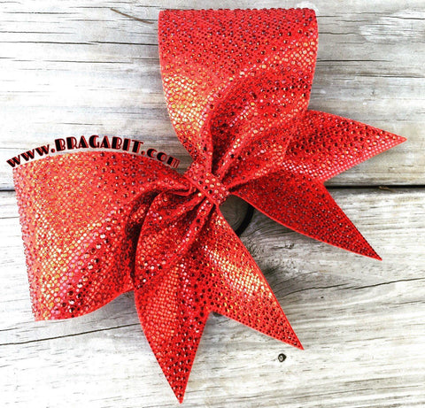 Ardara Rhinestone Cheer Bow in Red with Red Rhinestones