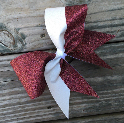 Maroon and White Glitter Cheer Bow