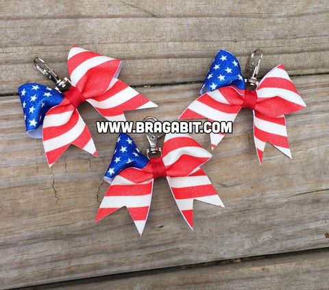 Glitter American Flag Key Chain (Clip or Hair Tie)