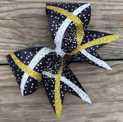 Brenda Cheer Bow in Black, Gold and White