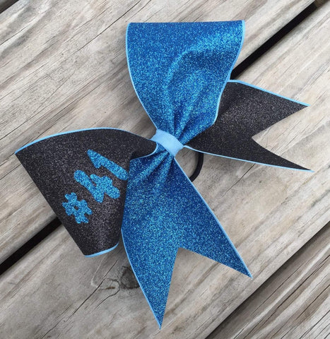 Adelina Glitter Bow in Black and Old Blue Glitter with Your Number or Name