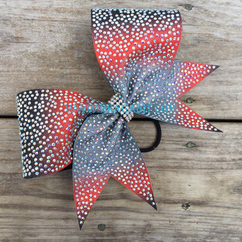 Ombre Glitter Bow Full Of Rhinestones