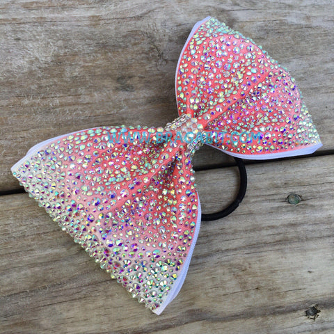 Peach Ombré Tailless Bow Covered In Rhinestones
