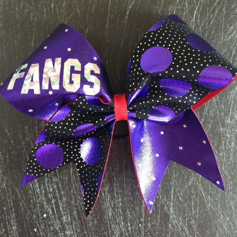 Purple and red bow with rhinestones and polka dots. - BRAGABIT