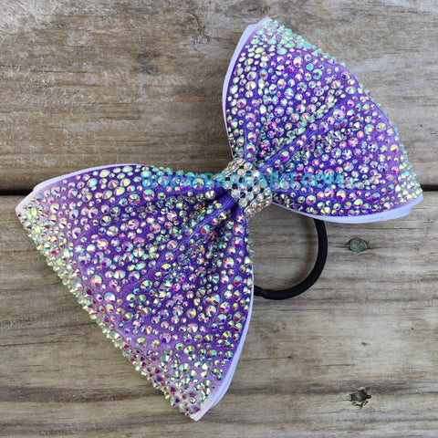 Purple Ombré Tailless Bow Covered In Rhinestones