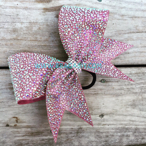 Rose Gold Glitter Bow With Rhinestones