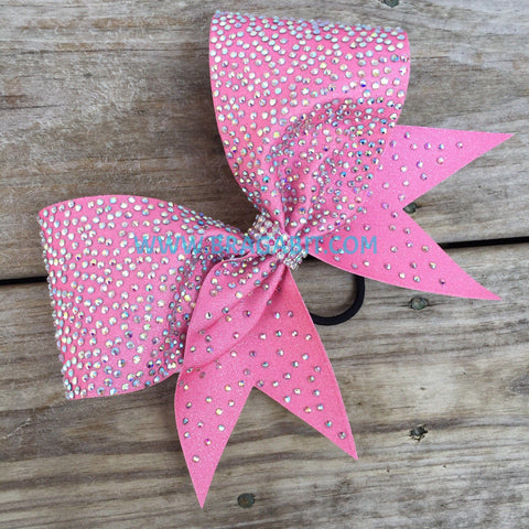 Rose Pink Glitter Cheer Bow