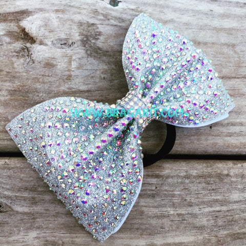 Silver Glitter Tailless Bow With AB Rhinestones
