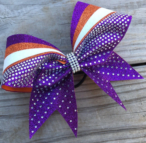 Slanted Bow With Glitter And Rhinestones