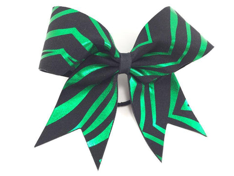 Green and black animal print bow. - BRAGABIT  - 1