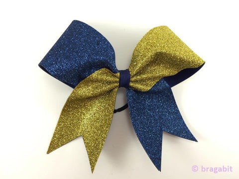 Navy and gold glitter bow. - BRAGABIT  - 1