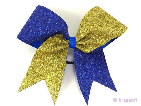 Royal blue and gold glitter bow. - BRAGABIT  - 1