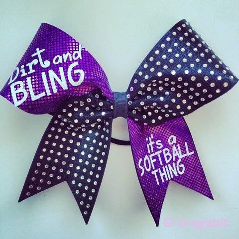 Dirt and bling it's a softball thing purple holographic fabric with black fabric and rhinestones. - BRAGABIT