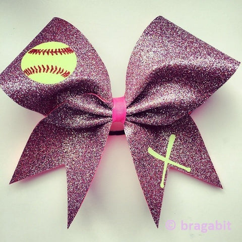 Multicolor glitter softball bow. - BRAGABIT