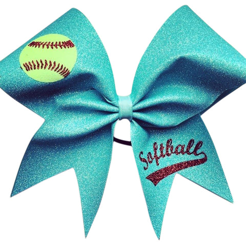 Softball bow. Light turquoise glitter softball bow with glitter designs - BRAGABIT
